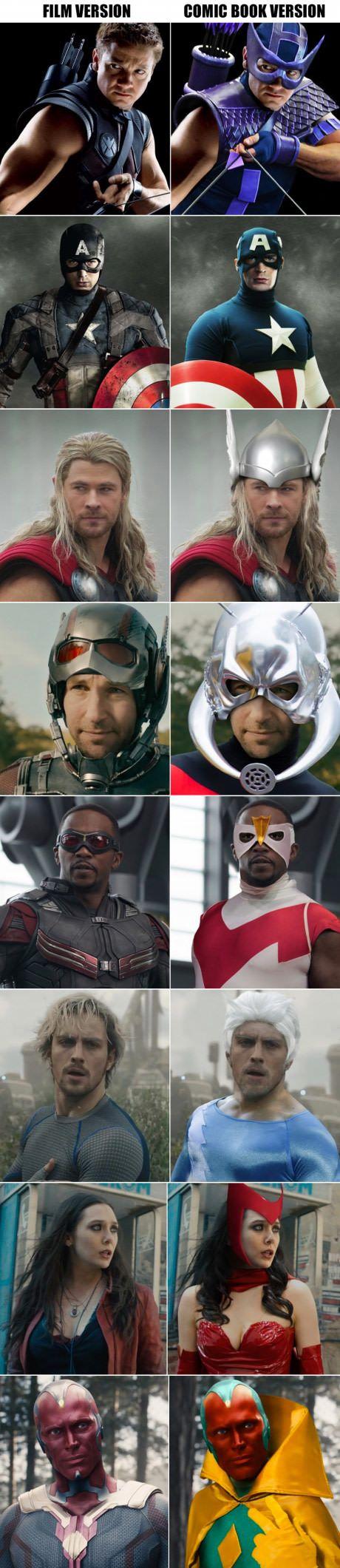 Voce ja parou pra pensar como seriam os herois vestidos conforme as hqs ???(que bom q eles mudaram kkk)