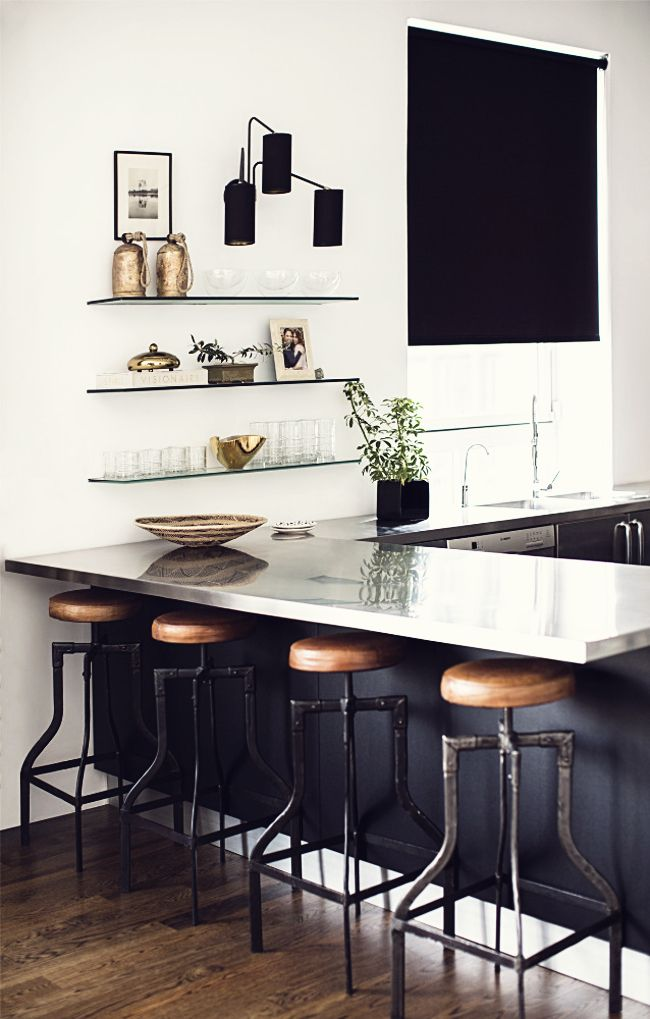 Stools that have adjustable heights are an awesome idea. You just wind the seat part up or down.