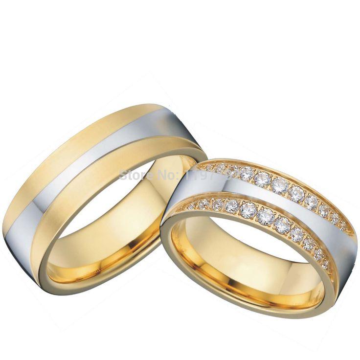 Encontrar Más Alianzas Información acerca de Lujo 18 k chapado en oro de titanio de la salud joyería de compromiso alianzas de boda de la promesa fija para hombre y mujeres alianza anel, alta calidad joyería de la cartera, China joyería de la antorcha Proveedores, barato cajas de la joyería. regalo de China Wedding Rings en Aliexpress.com