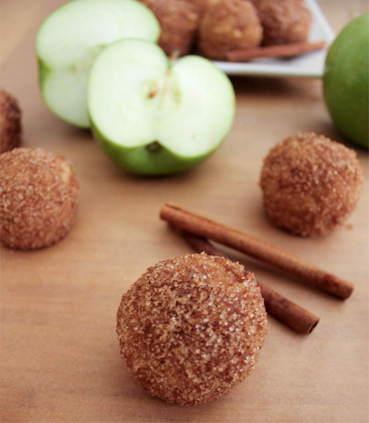 Apple Cinnamon Baked Doughnut Holes. A perfect fall treat for brunch or with ice cream for dessert!