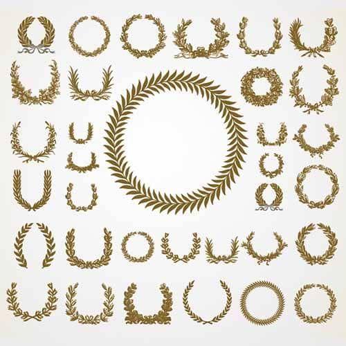 Оливковое & лавровый венок Векторный набор Бесплатно