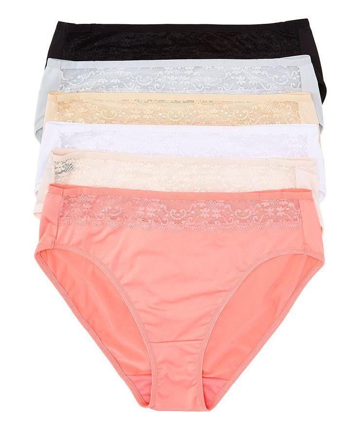 Coral & Beige Lace-Trim High-Cut Bikini Set - Plus