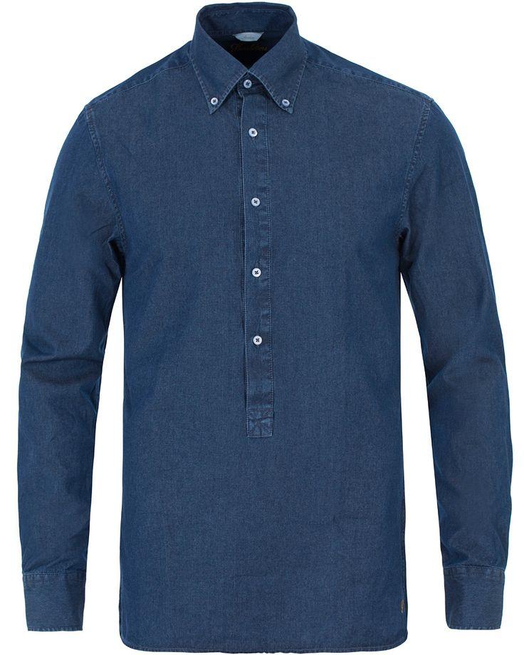 Stenströms Slimline Garment Washed Popover Shirt Dark Blue i gruppen Skjortor / Jeansskjortor hos Care of Carl (13517811r)