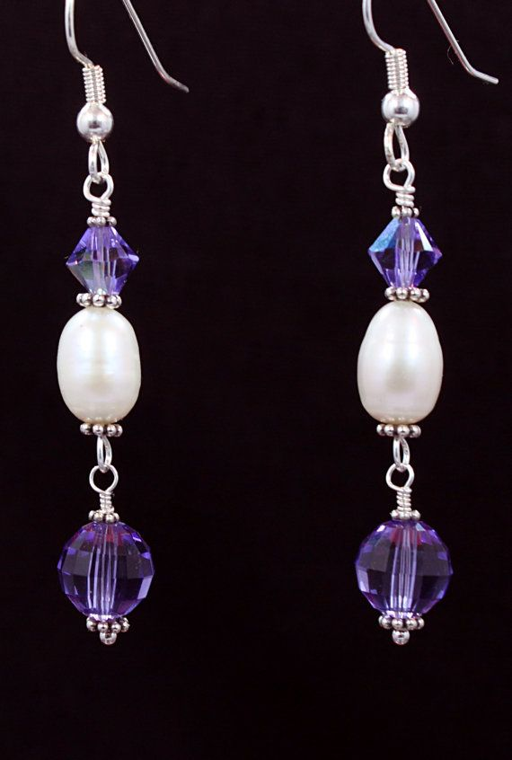 Silver and white potato pearls and amethyst crystals
