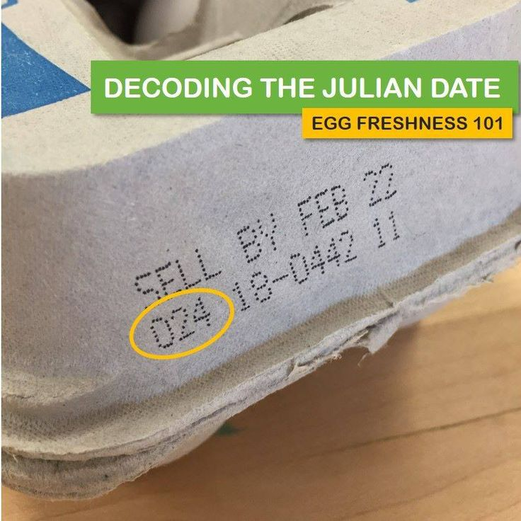 Egg Freshness 101: Decoding the Julian Date Starting with January 1 as 001 and ending with December 31 as 365, this number system may be used on some egg cartons to track the day the eggs are packed. Eggs can be stored in their cartons in the refrigerator for four to five weeks beyond this date.