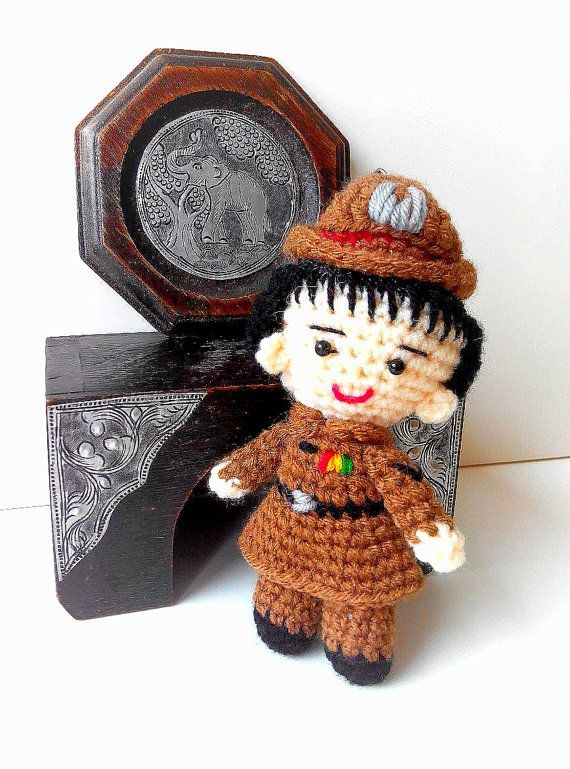 Handmade crochet Thai police lady w/ keychain by TheGreenHouse222