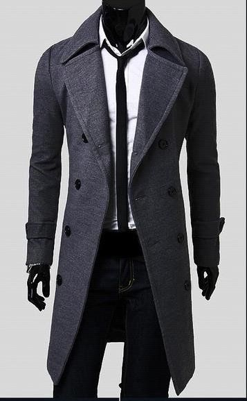 Man Spring New Fashion Trench Coat Men Spring Long Coat Suit Men Wool Coat Men Overcoat Outerwear - Alternative Measures - gray / M - 2
