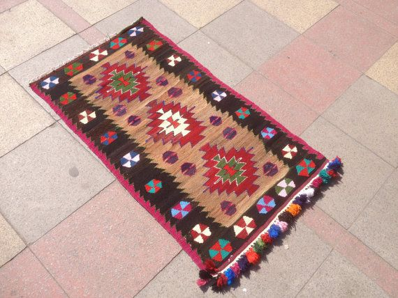 "Vintage Area Kilim rug colorful kilim rug Turkish kilim decorative kilim hand woven rug living room decor 27,9""x48,8"" inch"