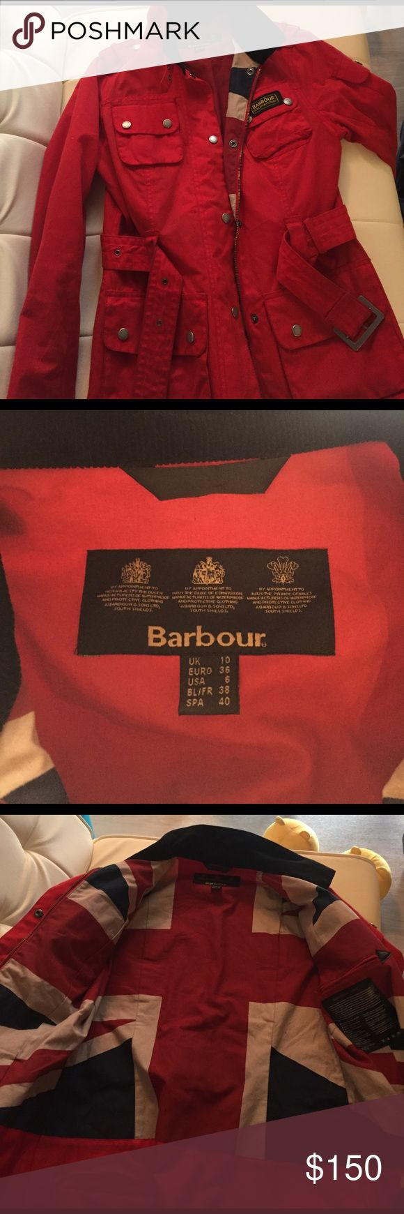 Barbour International Red jacket size 6 Originally $450+, worn twice. This jacket is in a great condition. Barbour Jackets & Coats