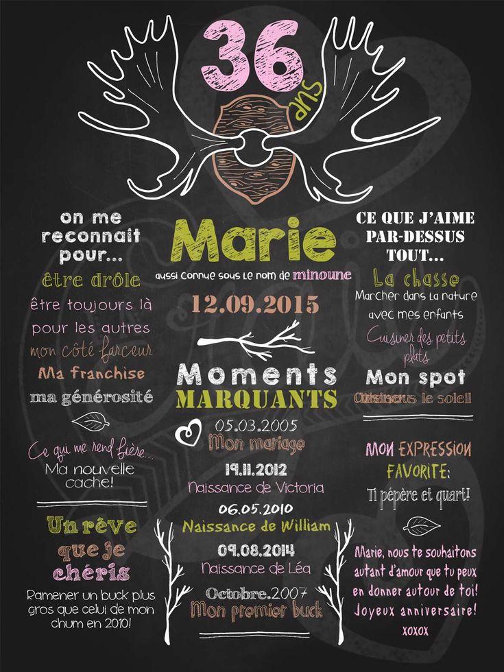 Affiche personnalisée anniversaire pour adulte Quel panache! (rose)   35,00$ #chalkboard #lacraieco