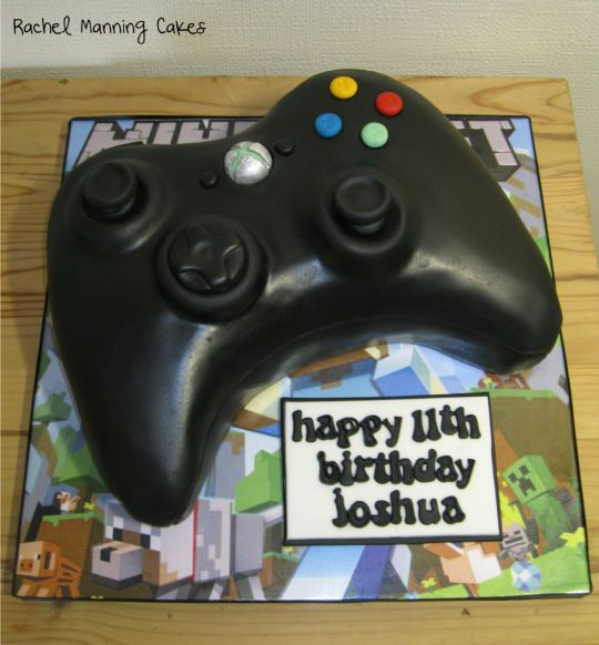 XBox Controller cake with a touch of Minecraft - Cake by Rachel Manning Cakes - CakesDecor