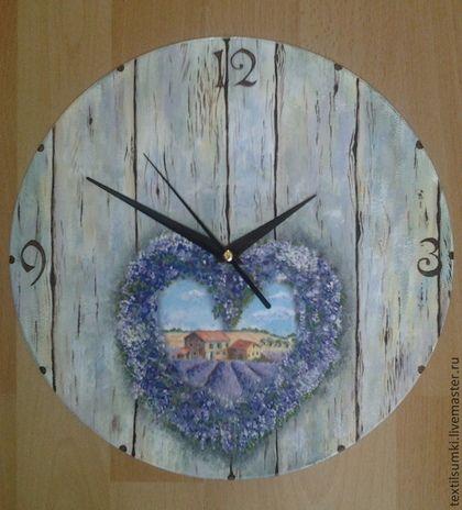 Часы для дома ручной работы. Ярмарка Мастеров - ручная работа. Купить Часы настенные декупаж с ручной росписью Лаванда. Handmade.