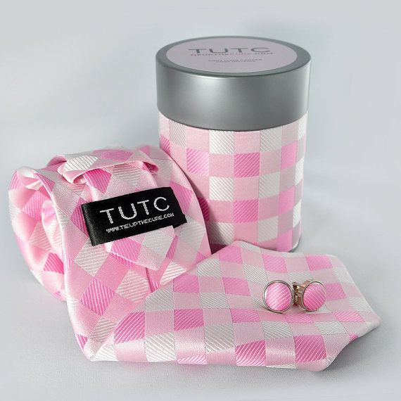 PINK CHECKER TIE tube set by TieUpTheCure on Etsy