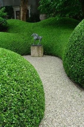 Tailored gardens | Boxwood clouds & gravel path