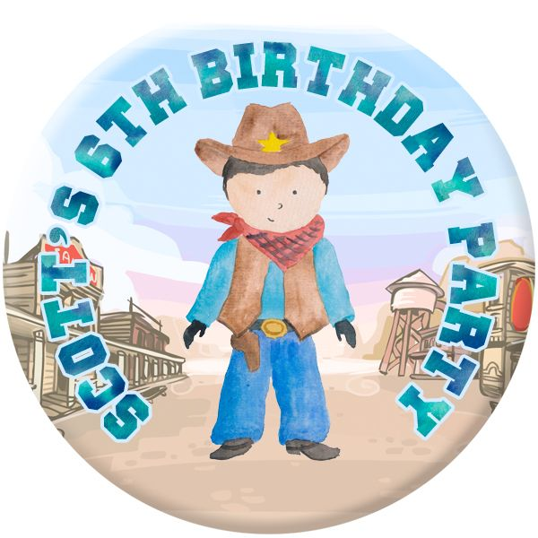 Cowboy Personalised Birthday Party Badge #912