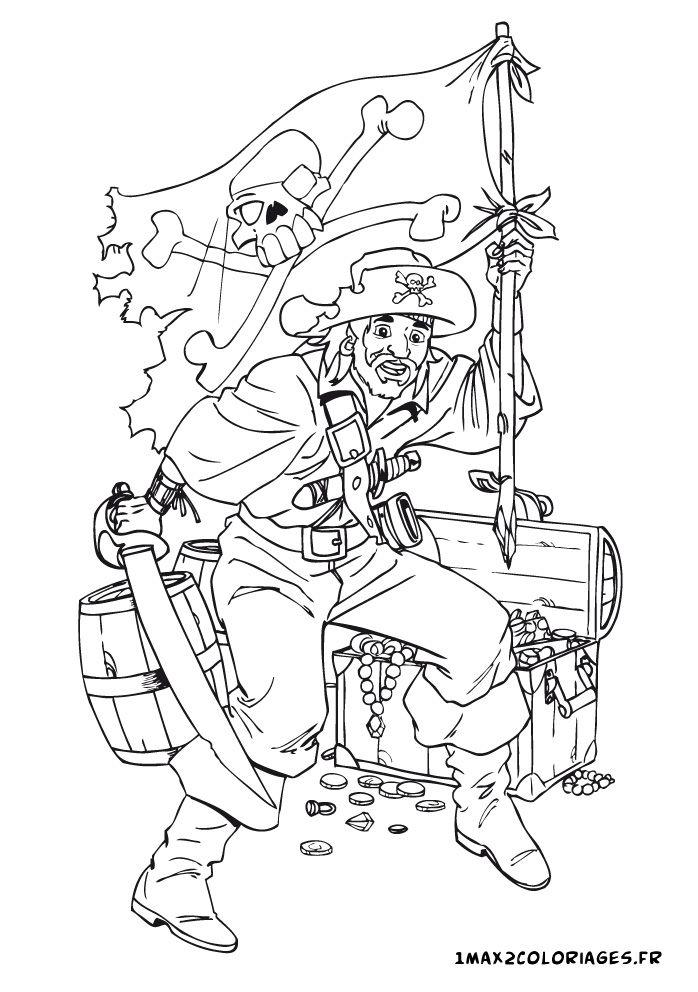 coloriage un pirate garde son tresor | Pirate, A imprimer