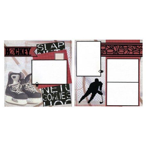 2 Coordinating Premade Hockey Scrapbook Pages - Hockey Skates | SusansScrapbookShack - Paper/Books on ArtFire