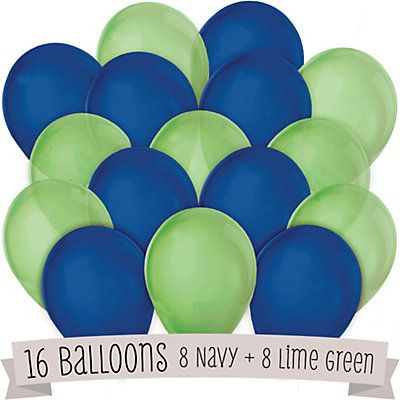 3.99 Navy and Lime Green - Party Latex Balloons - 16 ct | BigDotOfHappiness.com