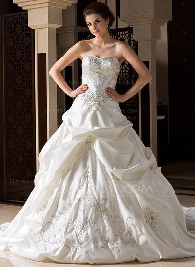 Wedding Dresses - $336.99 - Ball-Gown Sweetheart Cathedral Train Satin Wedding Dress With Embroidered Ruffle Beading (002033765) http://jjshouse.com/Ball-Gown-Sweetheart-Cathedral-Train-Satin-Wedding-Dress-With-Embroidered-Ruffle-Beading-002033765-g33765