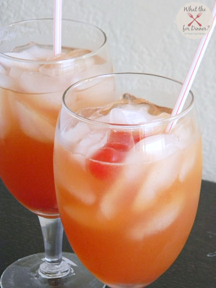 Safe Sex on the Beach Mocktail (3 oz cranberry juice 3 oz grapefruit juice 2 oz peach nectar 1 maraschino cherry)
