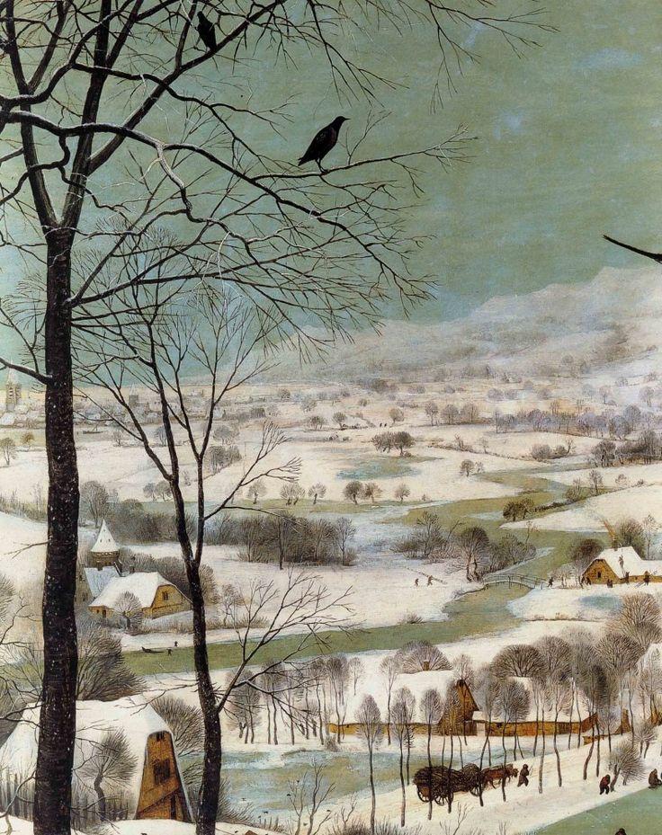 1565 Pieter Bruegel the Elder – Hunters in the Snow, Winter, Detail landscape