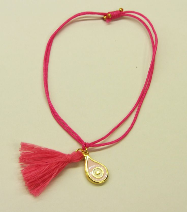 Handmade bracelet/pink leather/pink tassel/base metal rain-drop charm/gold plated/24 carats/rose enamel/eye by CrownedCharm on Etsy