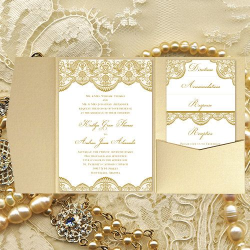 pocket fold wedding invitations vintage lace gold diy printable templates make your own. Black Bedroom Furniture Sets. Home Design Ideas