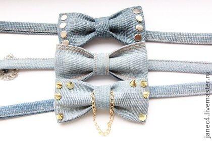 Галстук-бабочка из джинсы. Handmade.