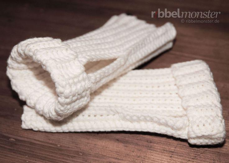 Einfache Handstulpen häkeln ohne Zunahmen & Abnahmen