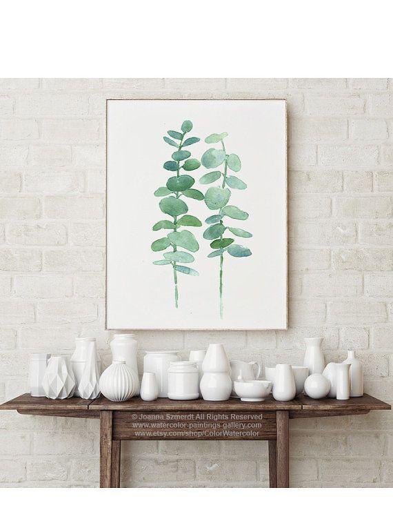 Impresión del arte del eucalipto verde pastel vivero