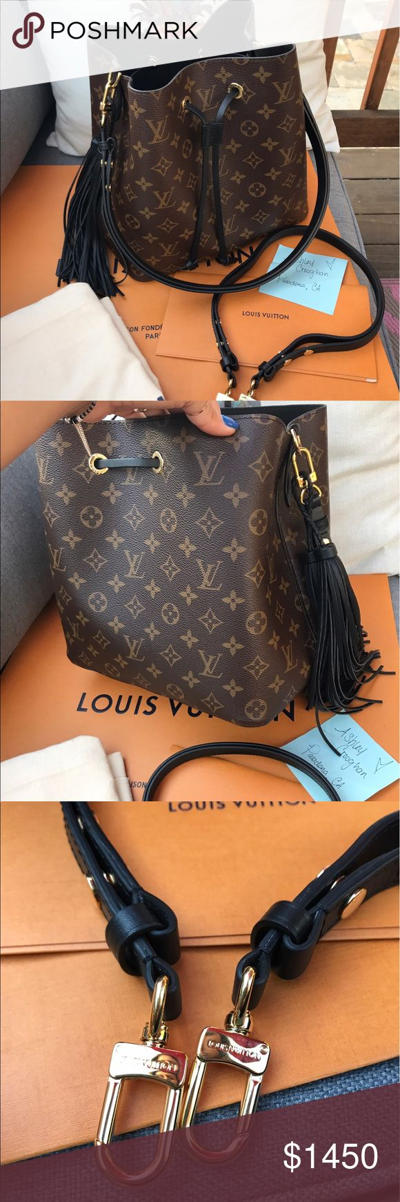 Louis Vuitton Neo Noe ️ay ️al ONLY Black Noir with Monogram  print. This beauty was purchased in February of this year. Comes with original receipt.. dust bag.. AND extra authentic Louis Vuitton strap.. can be used as a crossbody as well. No flaws to mention. tassel may be included as well.. it is NOT Lv. will only accept pa y pal due to fees :/ Louis Vuitton Bags Crossbody Bags