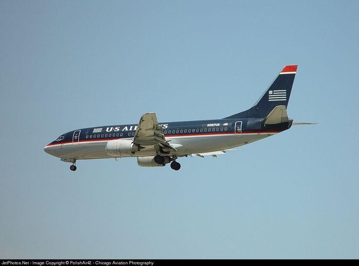 Boeing 737-3B7, US Airways, N397US, cn 23319/1250, first flight 27.6.1986 (USAir), US Airways delivered 27.2.1997, next Batavia Air (delivered 18.7.2006). Stored 31.1.2013. Foto: Chicago, USA, 1.6.2002.