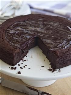 "Barefoot Contessa - Recipes - Decadent (Gluten-Free!) Chocolate Cake **Use Thomas Keller's ""Cup 4 Cup"" gluten-free flour."