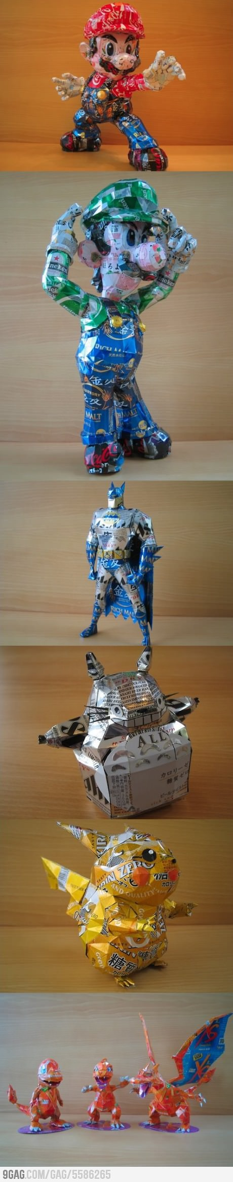 Awesome characters made out of aluminum cans