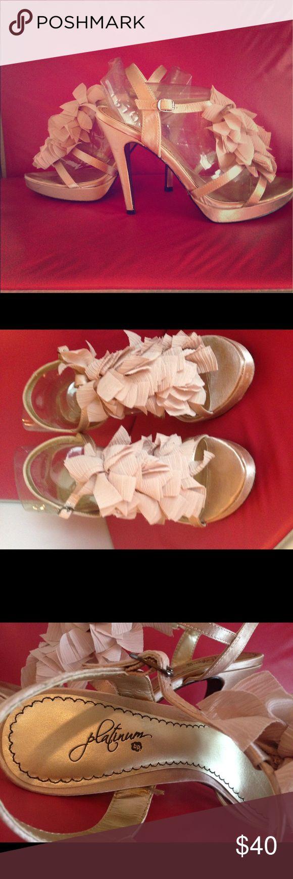 S A L E  Platinum soft pink platform  stilettos. Gorgeous evening or special occasion blush platform sandals. Fabric decoration on top. Shoes Platforms