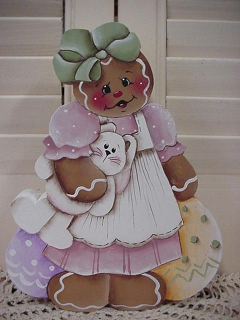 HP~~Gingerbread Girl with bunny & EASTER Eggs ~~ SHELF Sitter