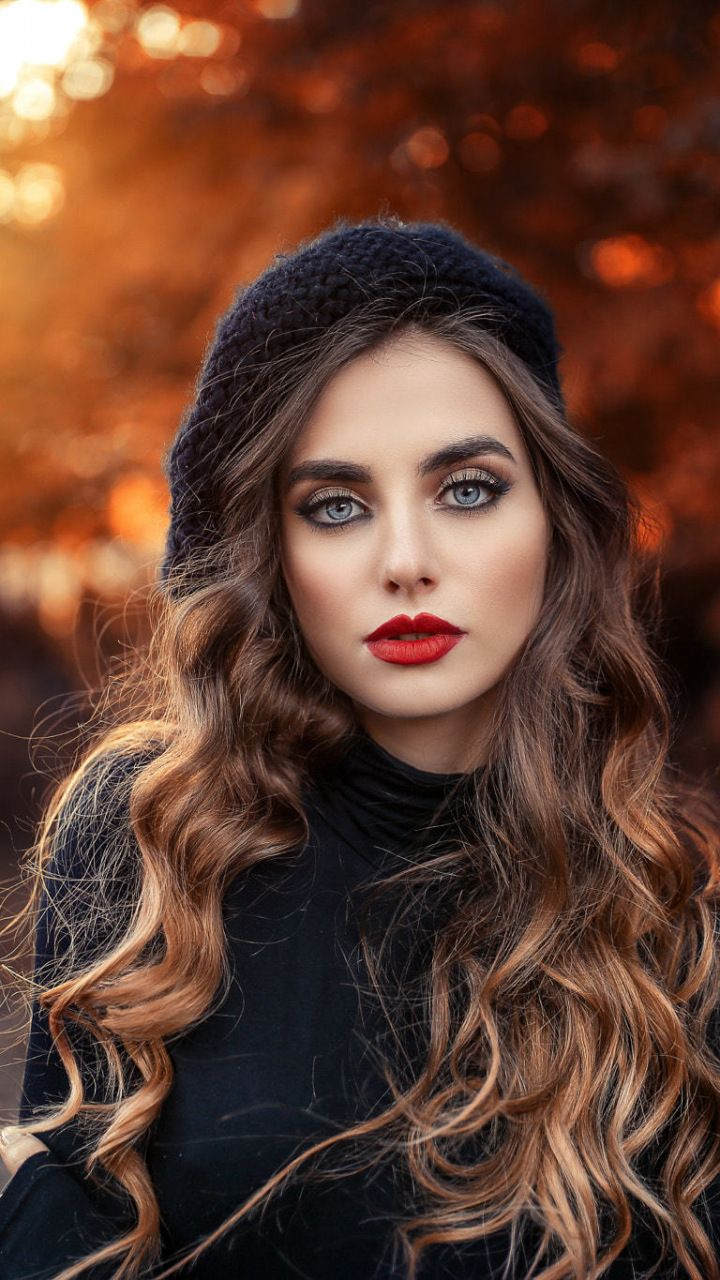 Outdoor Red Lips Curly Hair Brunette Woman 720x1280 Wallpaper Beauty Girl Portrait Photography Beauty Full Girl