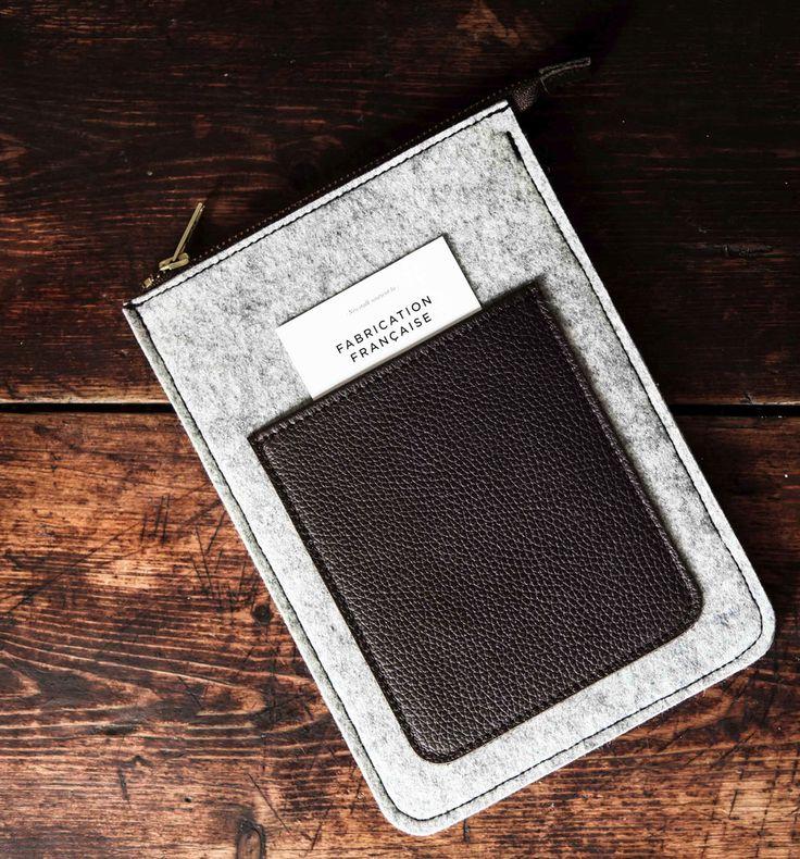 Etui iPad mini feutre et cuir Le Bon Gustave feutre gris - Newstalk | NEWSTALK - Gentlemen Travellers
