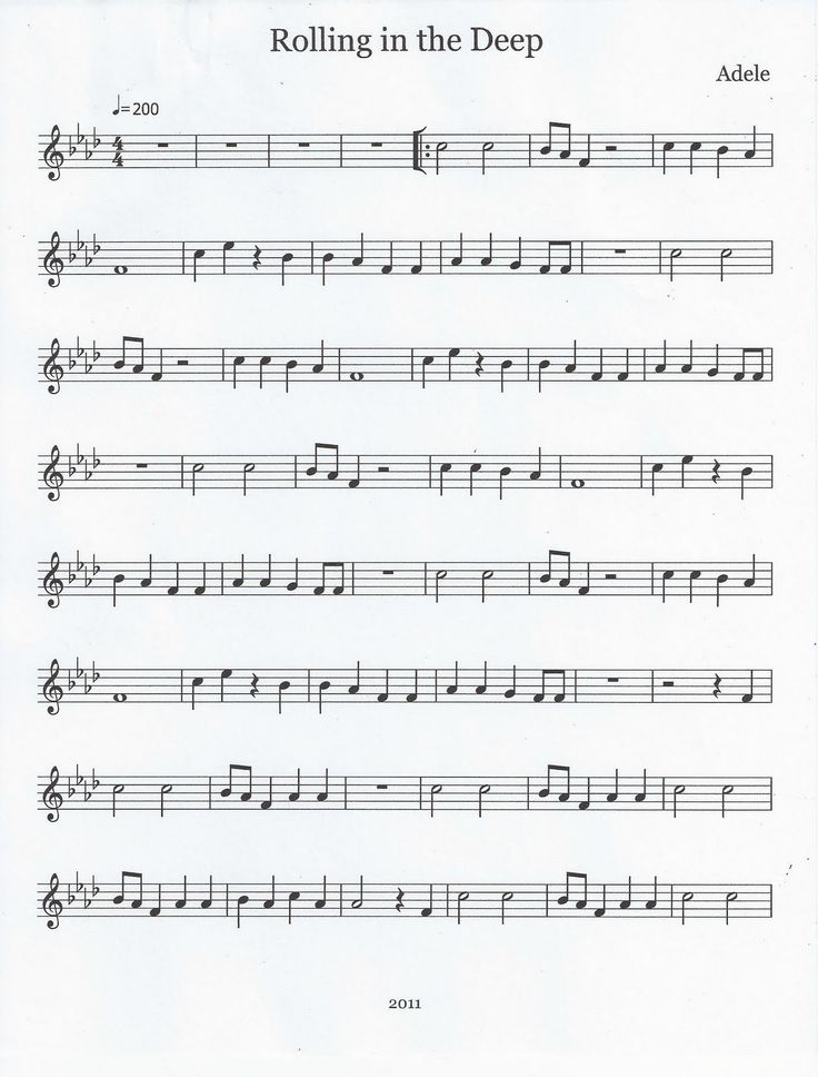Flute & Tenor Sax Sheet Music :): Rolling in the Deep (Flute)