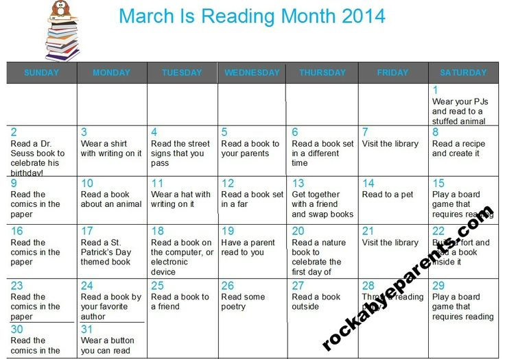 Monthly Reading Calendar : Best images about march is reading month on pinterest
