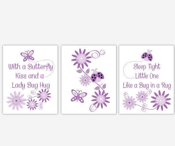 Purple Baby Nursery Wall Art Lavender Girls Room Butterfly Ladybug Flowers Baby Nursery Decor Little Girls Room Prints 3 PRINT SET