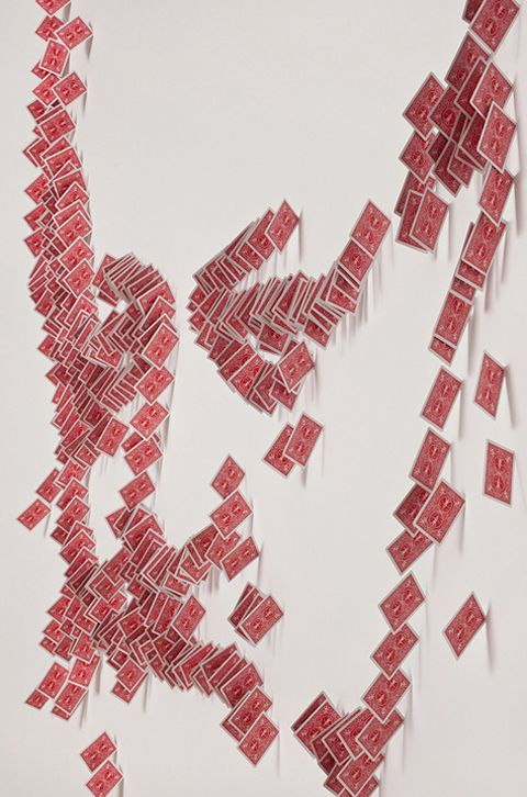 Anamorphic Wall Portrait of a Magician Made with Cards - My Modern Metropolis