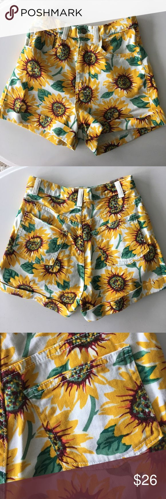American Apparel high wasted shorts never worn high waisted sunflower shorts from American Apparel size 26/27 American Apparel Shorts Jean Shorts