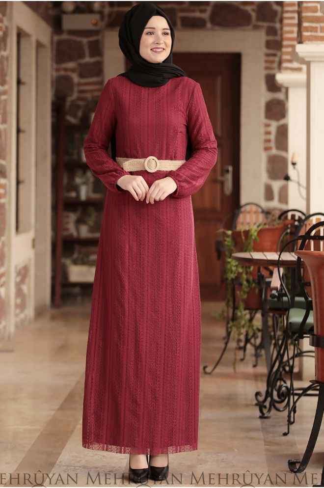 Amine Hüma – Ahu Lace Dress Bordeaux