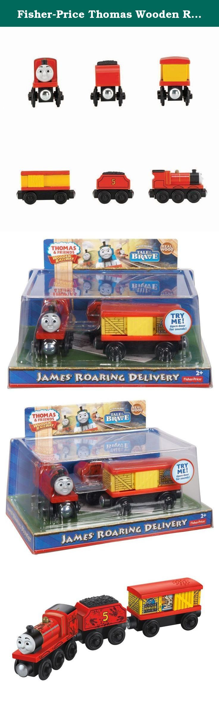 "Fisher-Price Thomas Wooden Railway - James and The Dino (Tale of The Brave) (3-Pack). Inspired by the DVD movie, Tale of the Brave James is pulling a cargo car filled with crates for the dinosaur exhibit! Hear the roar of a dinosaur as you open and close the cargo door! Can connect to other Wooden Railway engines and vehicles with magnet connectors. Perfect for Thomas & Friends Wooden Railway train sets (sold separately and subject to availability)! Requires 1 ""AG13"" battery (not included)."