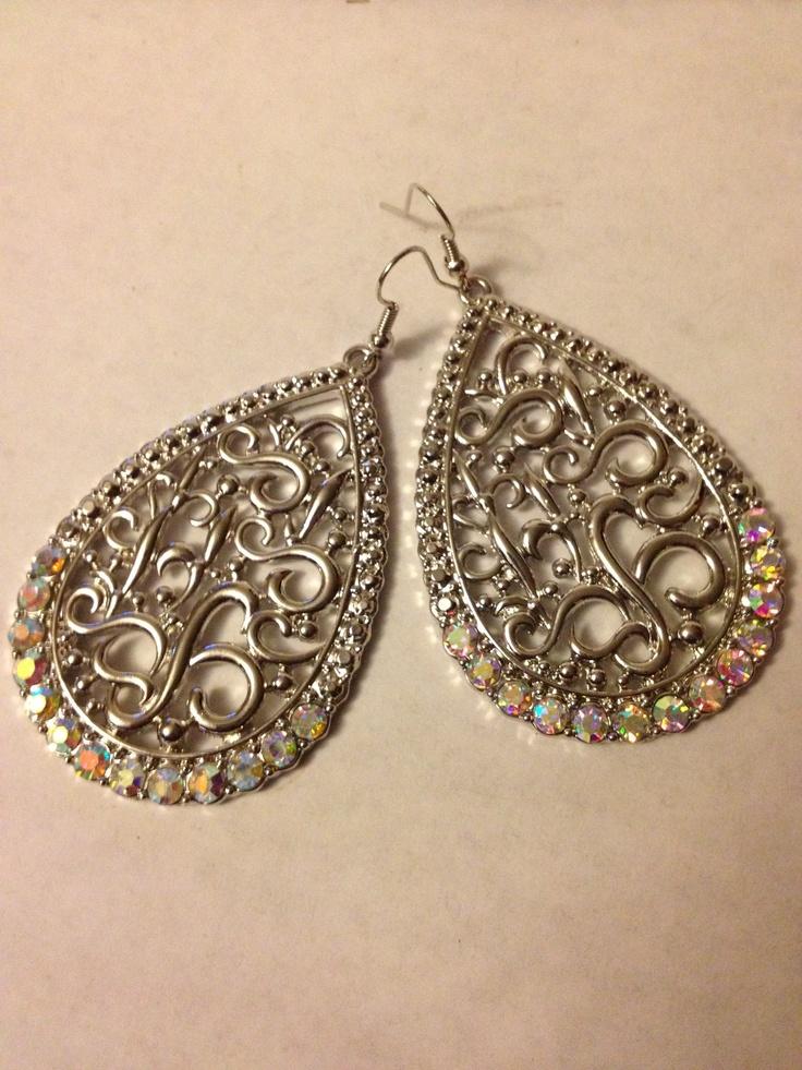 Large Silver Filigree Drop with rhinestones