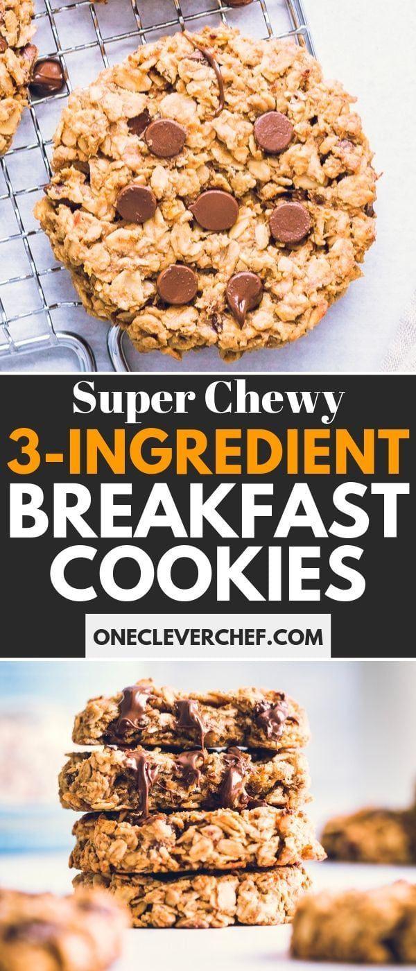 3 Ingredient Breakfast Cookies Recipe Breakfast Cookies Oatmeal Breakfast Cookies Clean Eating Cookies