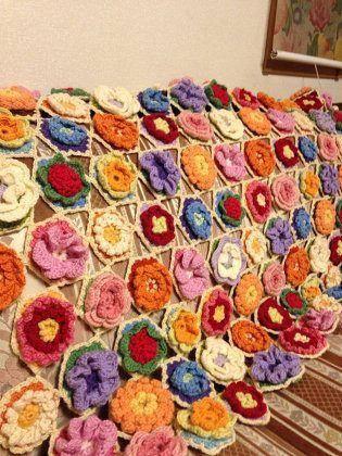 ソーイング:かぎ針編みのお花畑