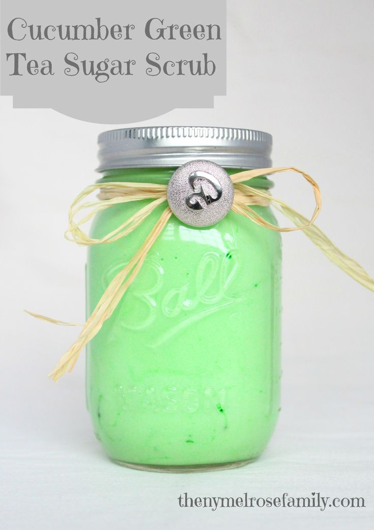 Cucumber Green Tea Sugar Scrub- this sounds amazing! #diy #greentea