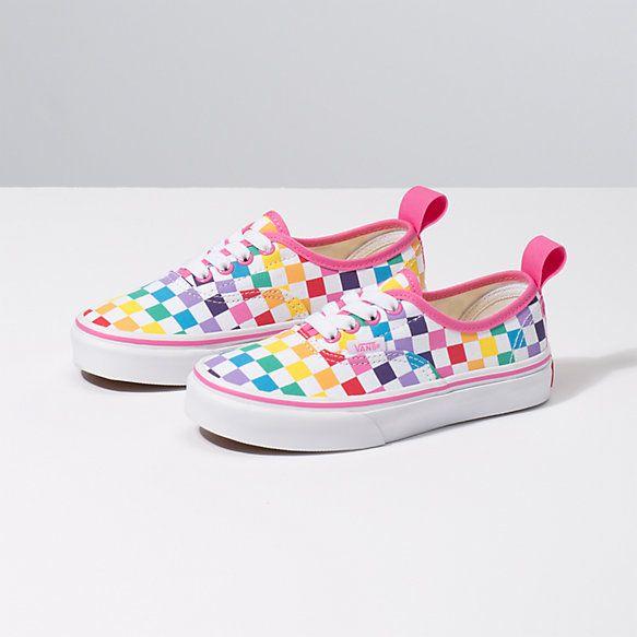 vans kids checkerboard rainbow